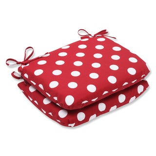 Pillow Perfect Outdoor Red/ White Polka Dot Seat Cushion (Set of 2)