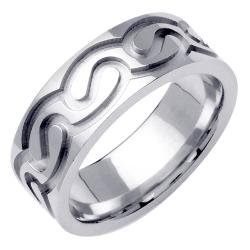 14k White Gold Men's Celtic Design Wedding Band - Thumbnail 1
