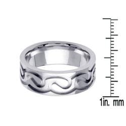 14k White Gold Men's Celtic Design Wedding Band - Thumbnail 2