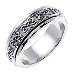 14k White Gold Men's Celtic Design Wedding Band