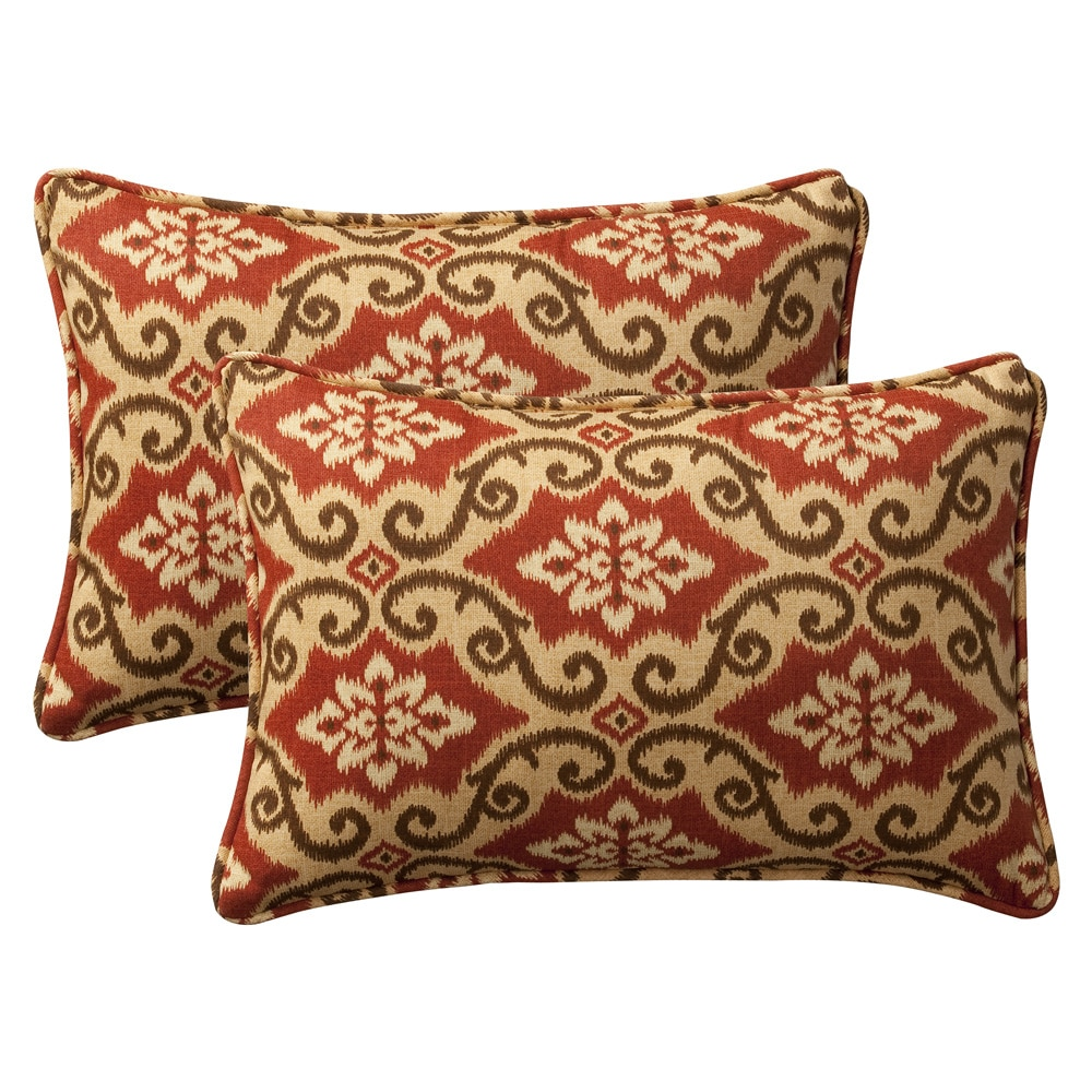 Outdoor Decorative Pillow Sets : Pillow Perfect Decorative Red/ Tan Damask Outdoor Toss Pillows (Set of 2) - Free Shipping On ...