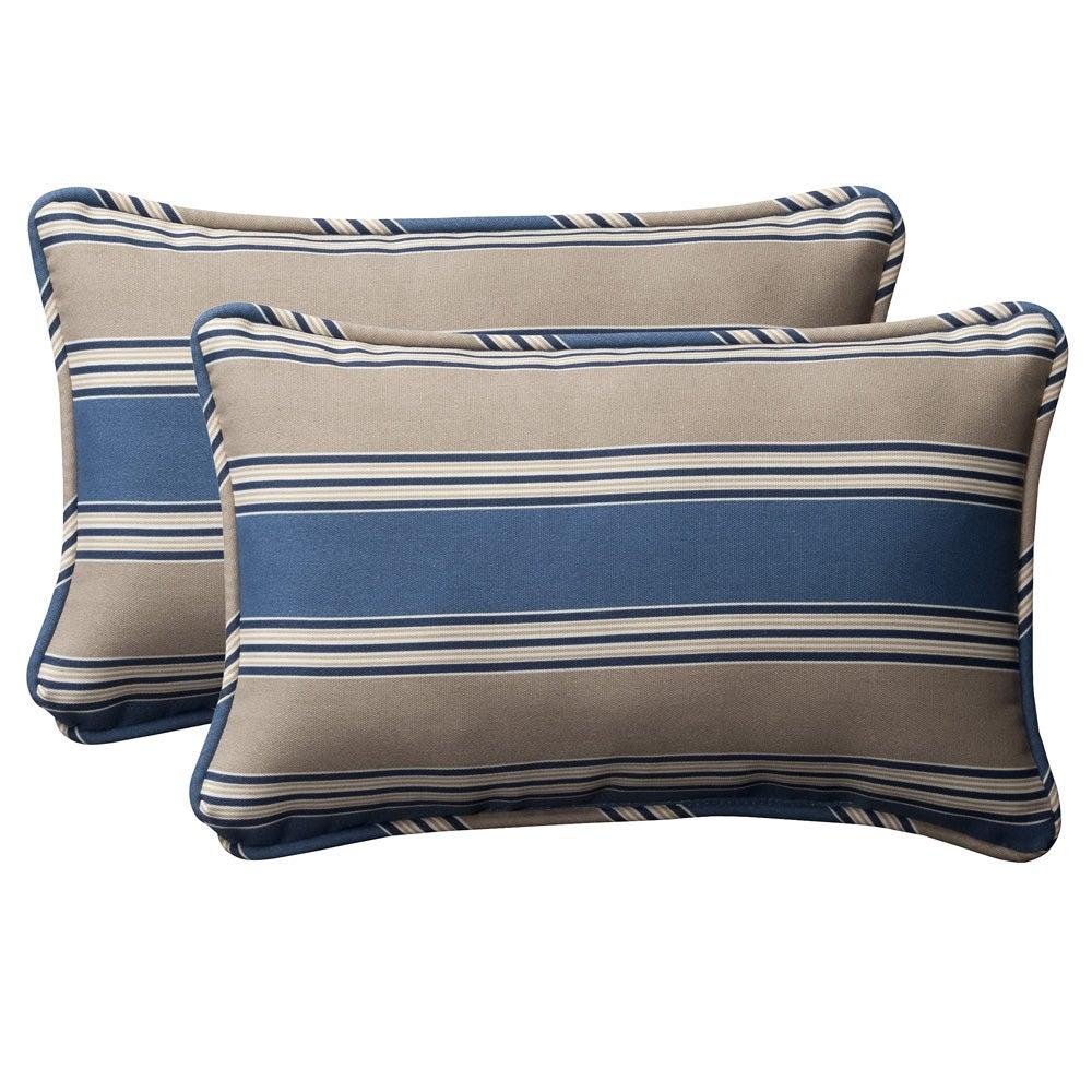 Pillow perfect decorative blue tan striped outdoor toss pillows set