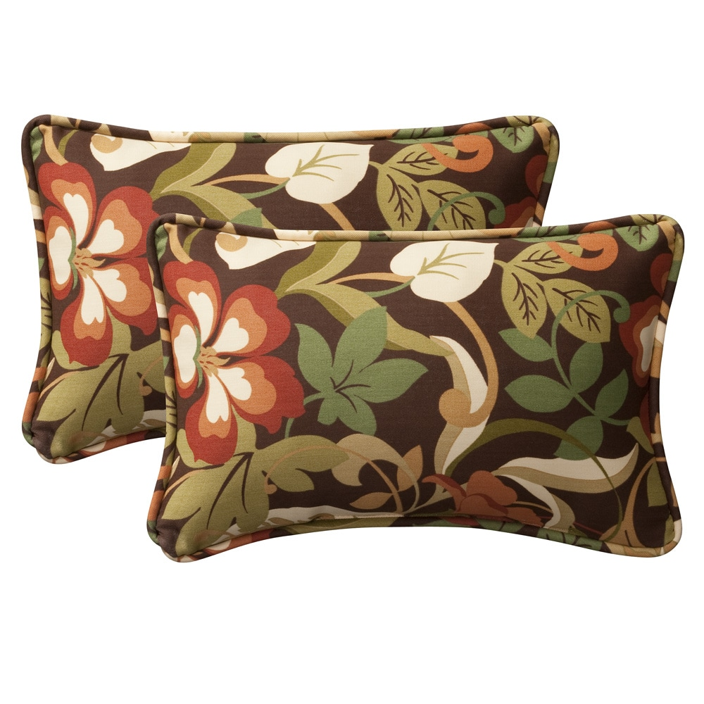 Pillow Perfect Decorative Brown/ Green Tropical Outdoor Toss Pillows (Set of 2)