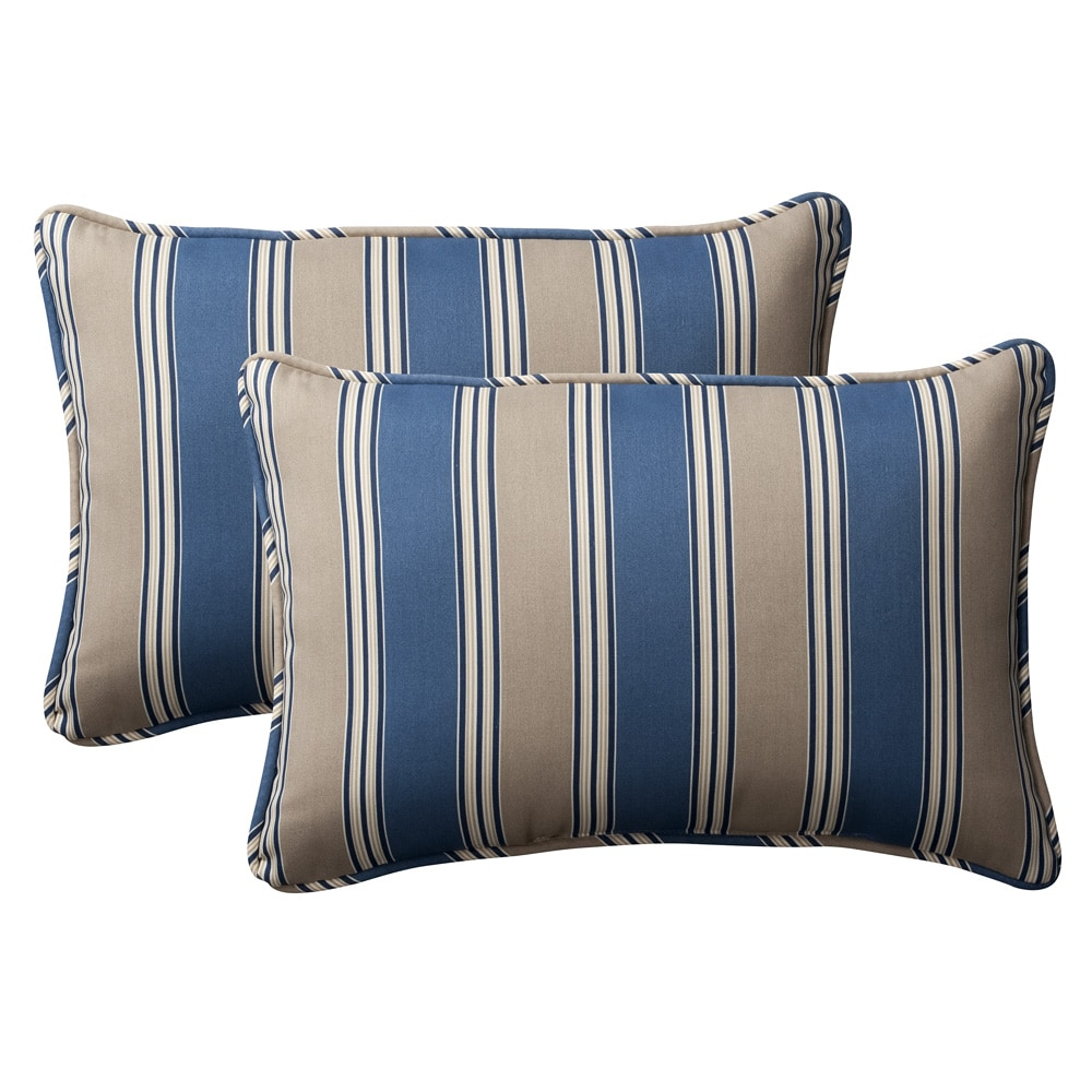 Shop Pillow Perfect Decorative Blue Tan Striped Outdoor Toss