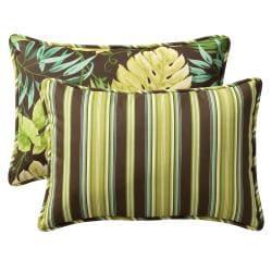 Pillow Perfect Outdoor Green/ Brown Tropical Stripe Toss Pillows (Set of 2)