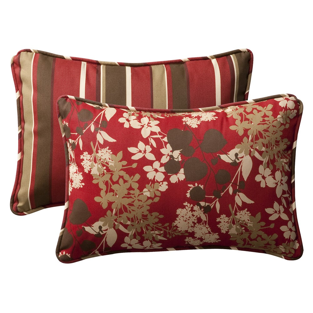 shop pillow perfect outdoor red brown floral stripe toss pillows set of 2 free shipping. Black Bedroom Furniture Sets. Home Design Ideas