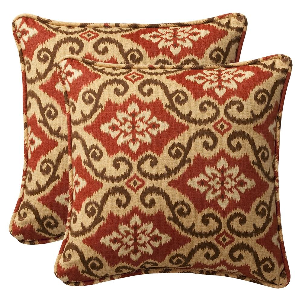 Pillow Perfect Outdoor Red Tan Damask Toss Pillows Set