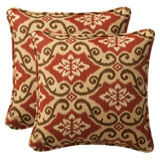 Pillow Perfect Outdoor Red/ Tan Damask Toss Pillows (Set of 2)