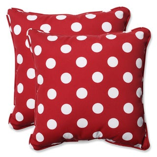 Pillow Perfect Outdoor Red/White Polka Dot Toss Pillows Square - Set of 2