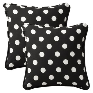 Pillow Perfect Outdoor Black/White Polka Dot Toss Pillows Square - Set of 2