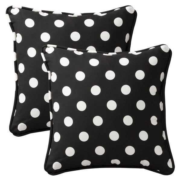 Pillow Perfect Outdoor Black/White Polka Dot Toss Pillows Square - Set of 2