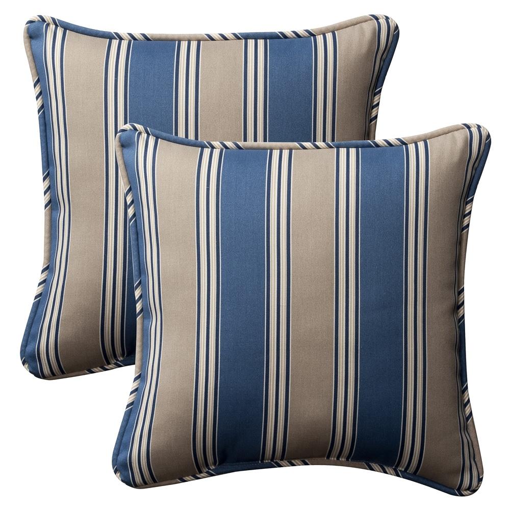 Pillow Perfect Outdoor Blue/ Tan Stripe Toss Pillows (Set of 2)