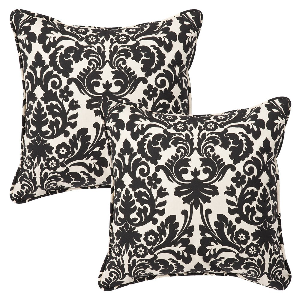 pillow perfect outdoor black beige damask toss pillows set of 2 free shipping today. Black Bedroom Furniture Sets. Home Design Ideas