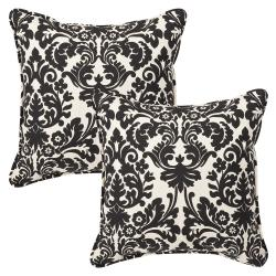 Thumbnail 1, Pillow Perfect Outdoor Black/ Beige Damask Toss Pillows (Set of 2).