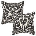 Pillow Perfect Outdoor Black/ Beige Damask Toss Pillows (Set of 2)