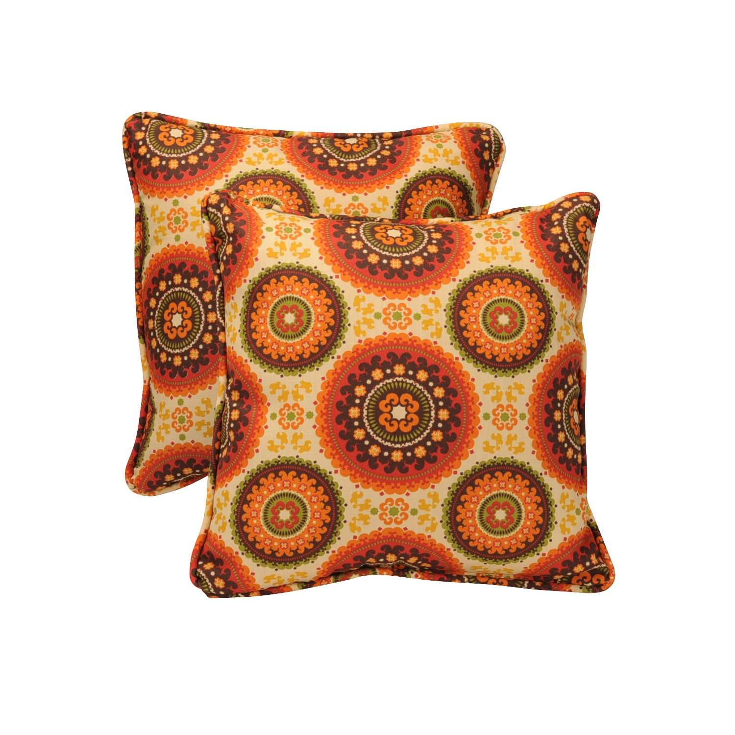 Pillow Perfect Outdoor Brown/ Orange Circles Toss Pillows (Set of 2)