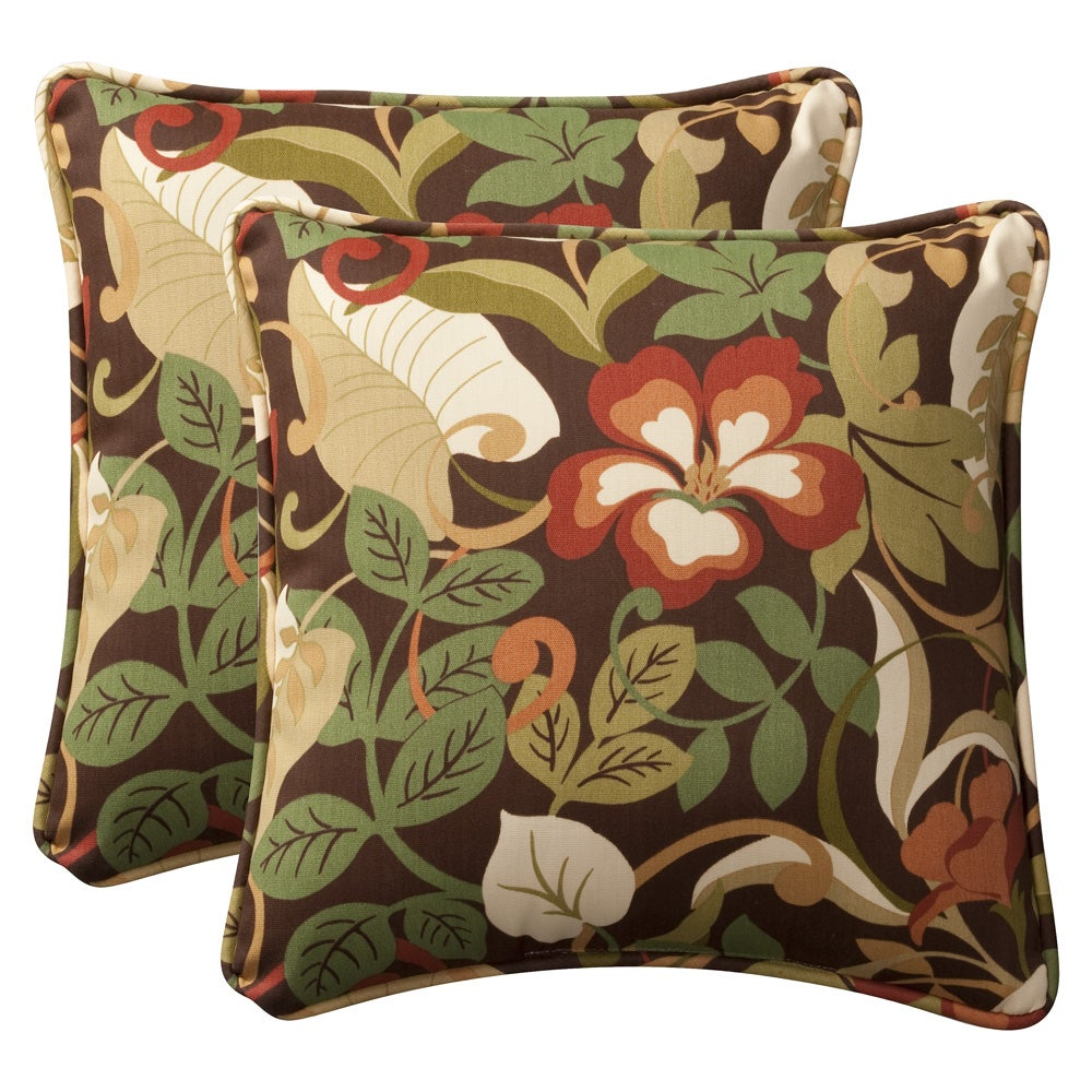 shop pillow perfect outdoor brown green tropical toss pillows set of 2 free shipping today. Black Bedroom Furniture Sets. Home Design Ideas