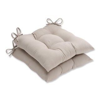 Pillow Perfect Outdoor Beige Tufted Seat Cushions (Set of 2)