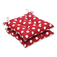 Pillow Perfect Outdoor Red/ White Polka Dot Tufted Seat Cushions (Set of 2)