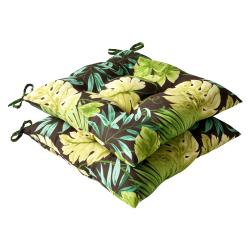 Pillow Perfect Outdoor Green/ Brown Tropical Tufted Seat Cushions (Set of 2)