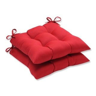 Pillow Perfect Outdoor Red Tufted Seat Cushions (Set of 2)