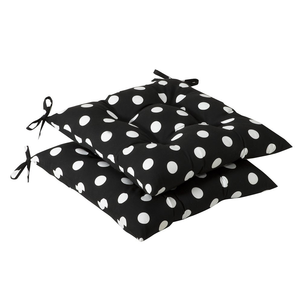 Patio Furniture Cushions White: Pillow Perfect Outdoor Black/ White Polka Dot Tufted Seat