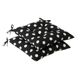 Pillow Perfect Outdoor Black/ White Polka Dot Tufted Seat Cushions (Set of 2)