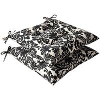 Pillow Perfect Outdoor Black/ Beige Damask Tufted Seat Cushions (Set of 2)