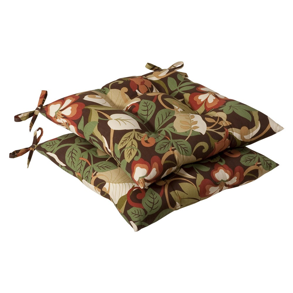 Pillow Perfect Outdoor Brown/ Green Tropical Tufted Seat Cushions (Set of 2)