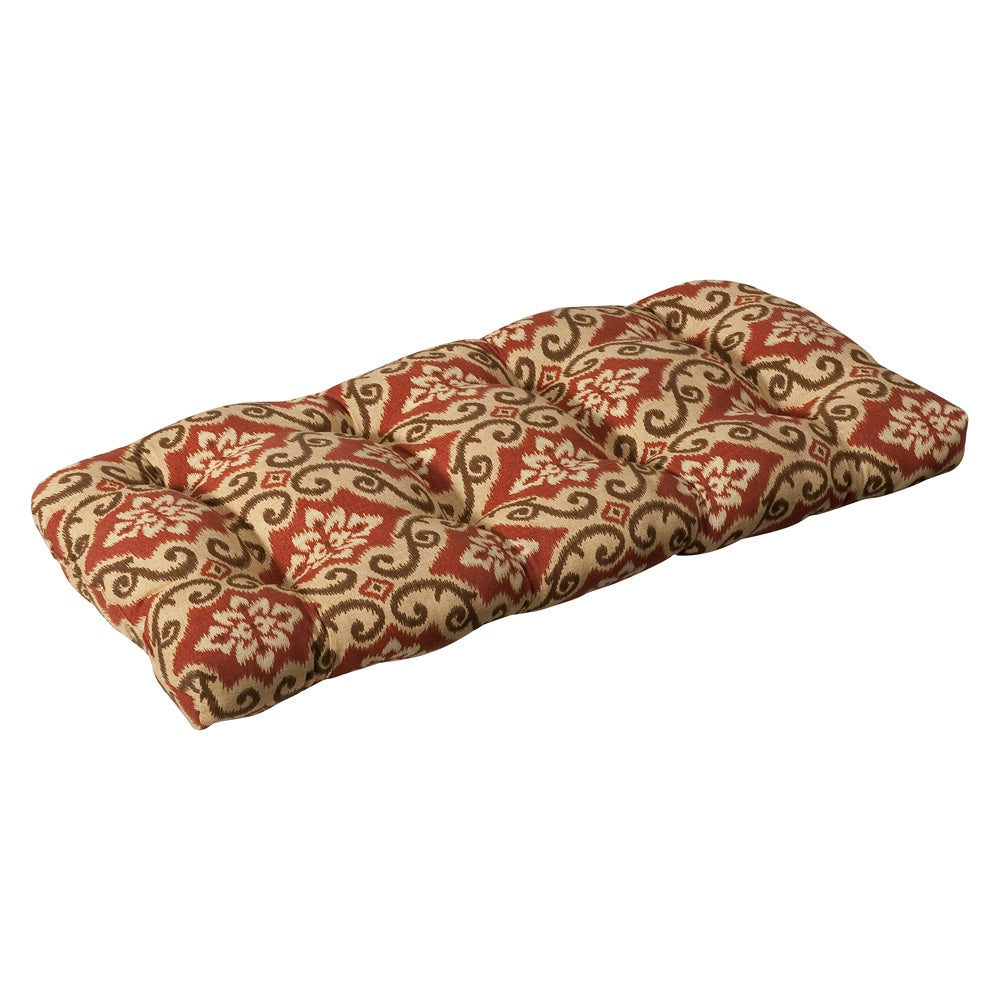 Pillow Perfect Outdoor Red/ Tan Damask Wicker Loveseat Cushion