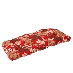 Pillow Perfect Outdoor Red/ Brown Floral Wicker Loveseat Cushion