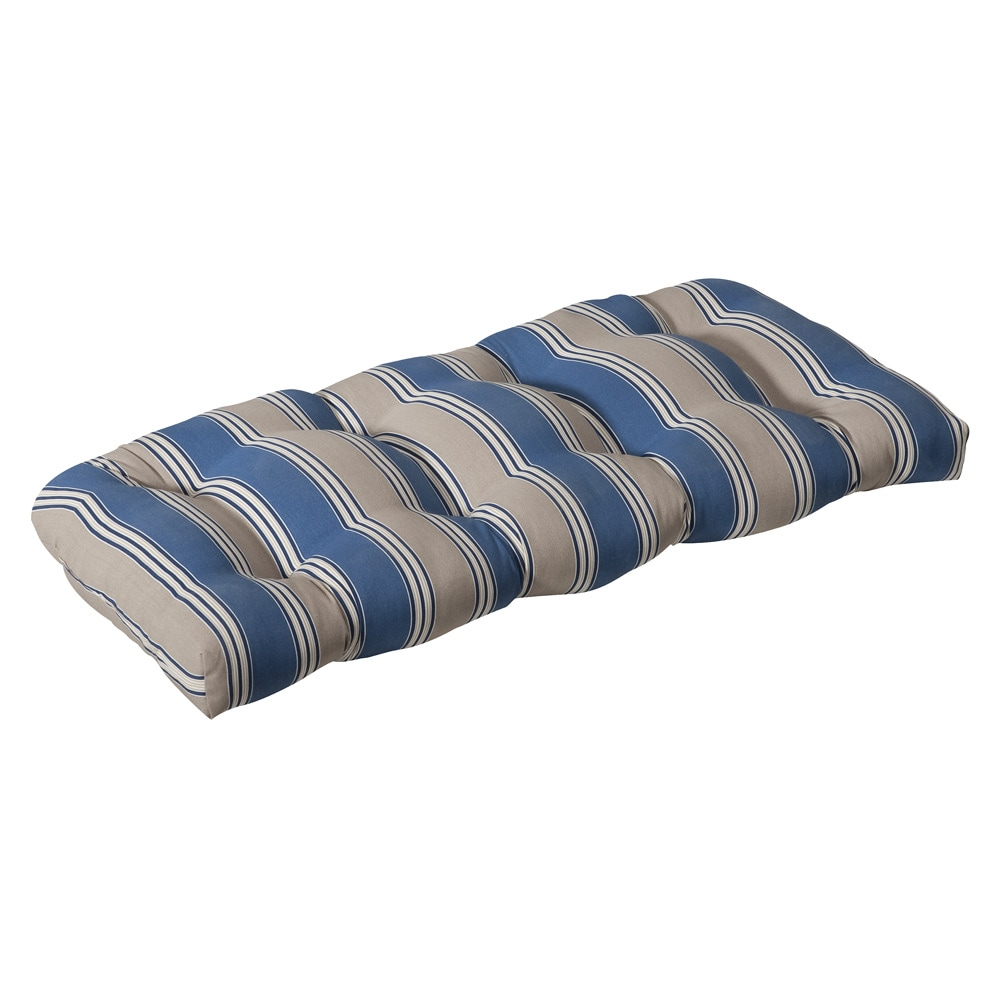 Pillow Perfect Outdoor Blue/ Tan Stripe Wicker Loveseat Cushion