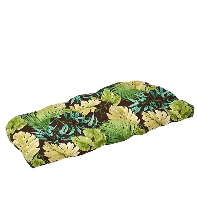 Pillow Perfect Outdoor Green/ Brown Tropical Wicker Loveseat Cushion
