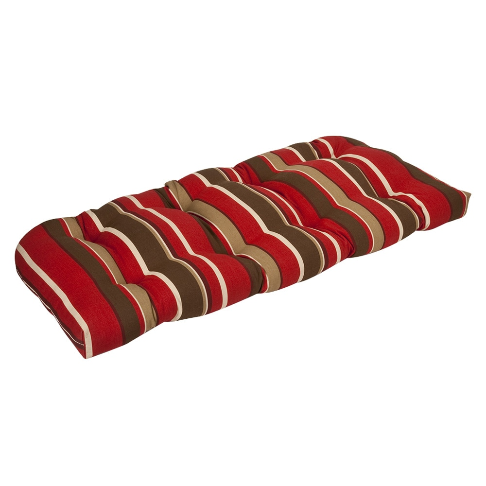 Pillow Perfect Outdoor Red Brown Stripe Wicker Loveseat