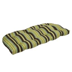 Pillow Perfect Outdoor Brown/ Green Stripe Wicker Loveseat Cushion