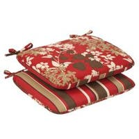 Pillow Perfect Outdoor Red/ Brown Floral/ Striped Rounded Reversible Seat Cushions (Set of 2)