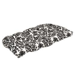 Pillow Perfect Outdoor Black/ Beige Damask Wicker Loveseat Cushion
