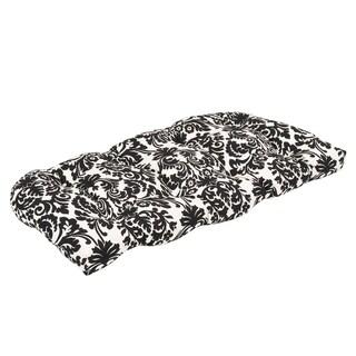 Pillow Perfect Outdoor Black/ Beige Damask Wicker Loveseat Cushion