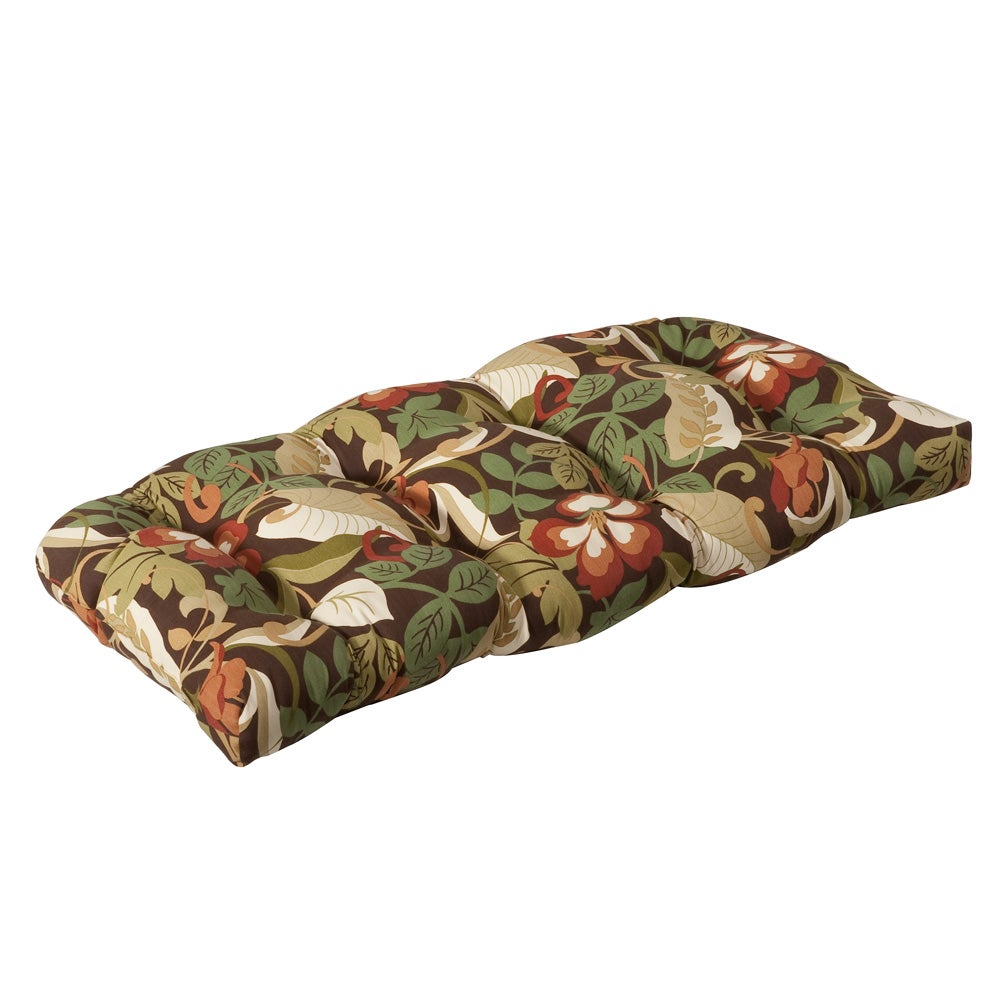 Pillow Perfect Outdoor Brown/ Green Tropical Wicker Loveseat Cushion