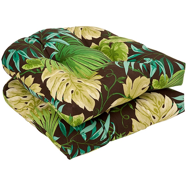pillow perfect outdoor brown green tropical seat cushions set of 2