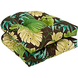 Pillow Perfect Outdoor Brown/ Green Tropical Seat Cushions (Set of 2) - Thumbnail 0