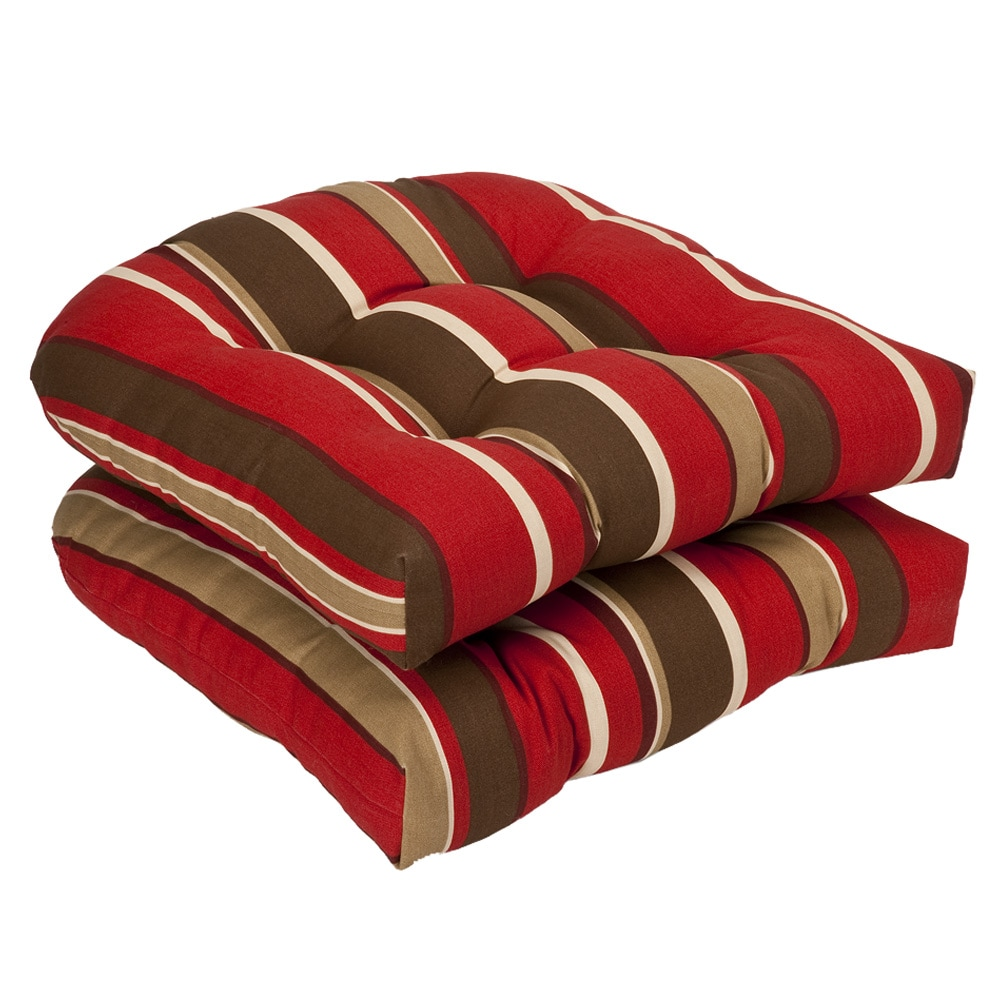 Pillow Perfect Outdoor Red Brown Striped Seat Cushions