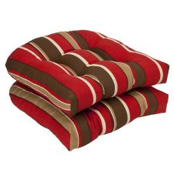 Pillow Perfect Outdoor Red/ Brown Striped Seat Cushions (Set of 2)