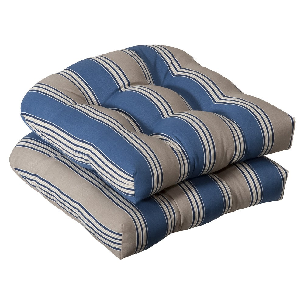 Pillow Perfect Outdoor Blue/ Tan Striped Seat Cushions (Set of 2) - Thumbnail 0