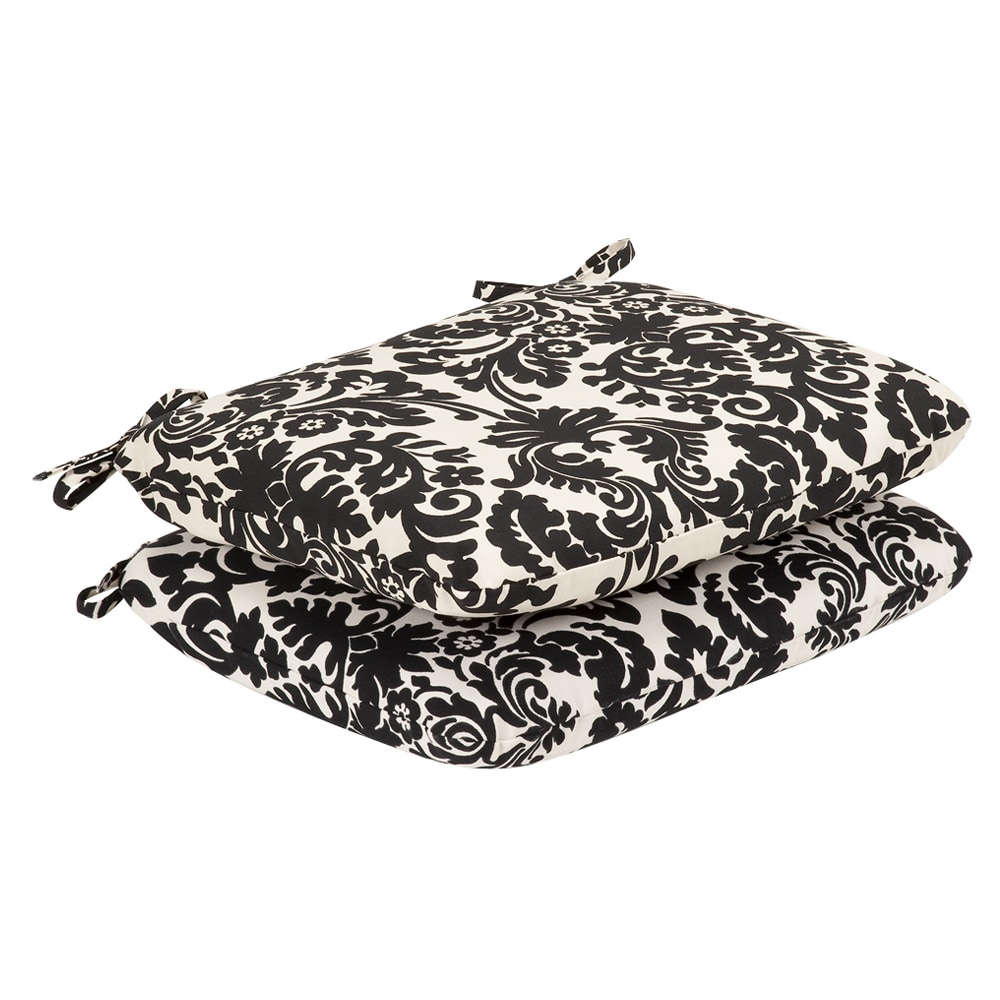 Pillow Perfect Outdoor Black/ Beige Damask Round Seat Cushions (Set of 2)