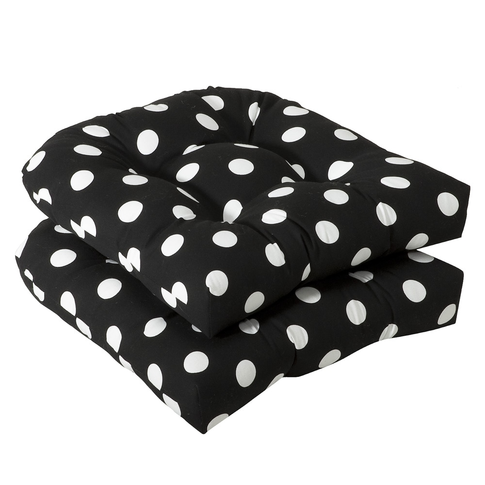 Pillow Perfect Outdoor Black White Polka Dot Seat