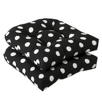 Pillow Perfect Outdoor Black/ White Polka Dot Seat Cushions (Set of 2)