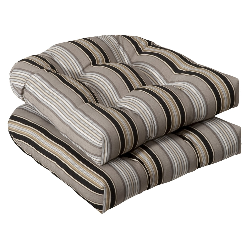 Shop Pillow Perfect Outdoor Black Beige Striped Seat