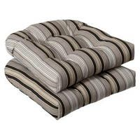 Pillow Perfect Outdoor Black/ Beige Striped Seat Cushions (Set of 2)