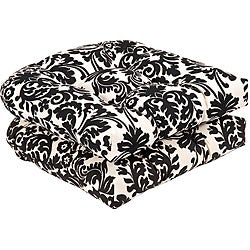 Attirant Pillow Perfect Outdoor Black/ Beige Damask Seat Cushions (Set Of 2)